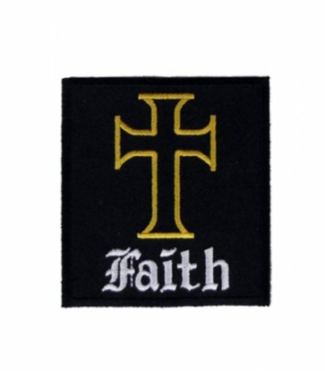 Faith Yellow Cross Patch, Religious Christian Patches