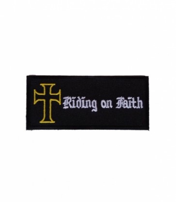 Riding On Faith Cross Patch, Christian Biker Patches