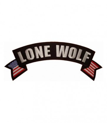 Lone Wolf U.S. Flag Rocker Patch, Biker Rocker Patches