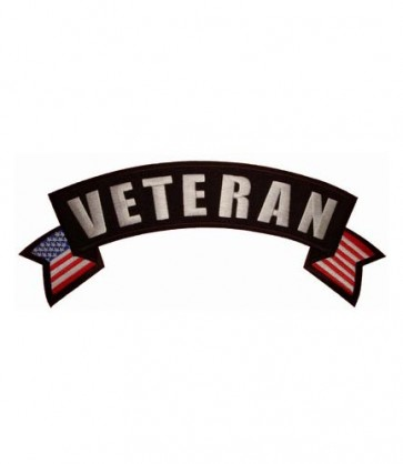 Veteran U.S. Flag Rocker Patch, Biker Rocker Patches