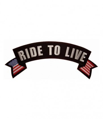 Ride To Live U.S. Flag Rocker Patch, Biker Rocker Patches