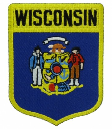 Wisconsin State Flag Shield Patch, 50 State Flag Patches