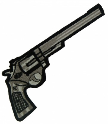 Black Revolver Gun Right Patch, Guns & Weapons Patches