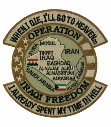 OIF I Spent My Time In Hell Tan Patch, Military Veteran Patches