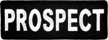 Prospect Black & White Patch, Biker Club Rank Patches
