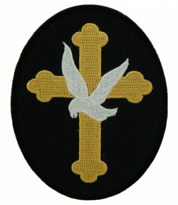 Gold Cross With Dove Patch, Religious Cross Patches
