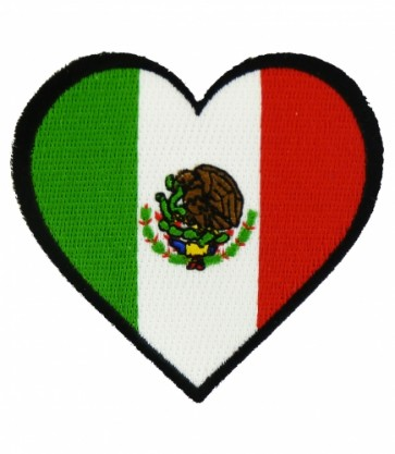 Mexico Flag Heart Shaped Patch, Mexican Pride Patches