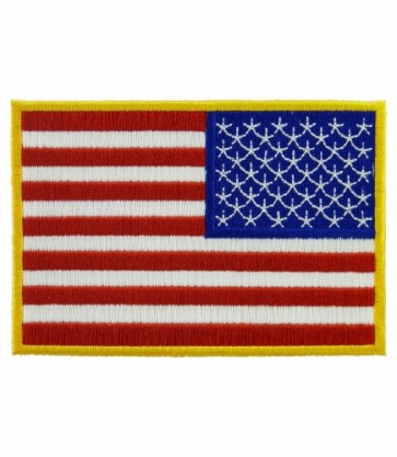 Embroidered American Flag Yellow Border Reversed Patch