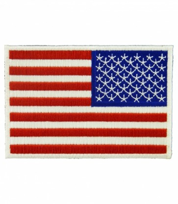 Embroidered US Flag White Border Sew On & Iron On Patch