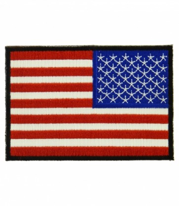 Embroidered American Flag Black Border Reversed Patch