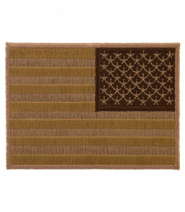 Embroidered American Flag Desert Tan Reversed Iron On Patch