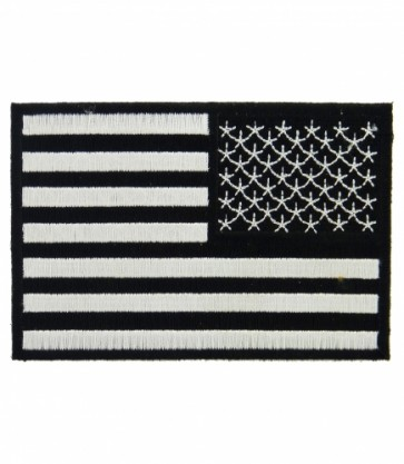 Embroidered American Flag Black & White Reversed Patch