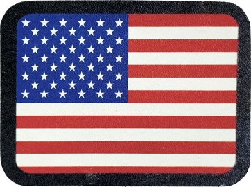 Red White & Blue American Flag Genuine Leather Sew On Patch