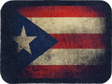 Worn Puerto Rican Flag Genuine Leather Patch