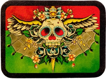 Green Red & Yellow Winged Sugar Skull Genuine Leather Patch