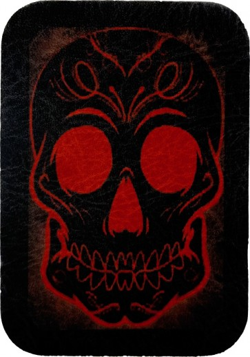 Day Of The Dead Red & Black Sugar Skull Genuine Leather Patch