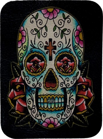 Blue & White & Rose Lucky 13 Sugar Skull Genuine Leather Patch