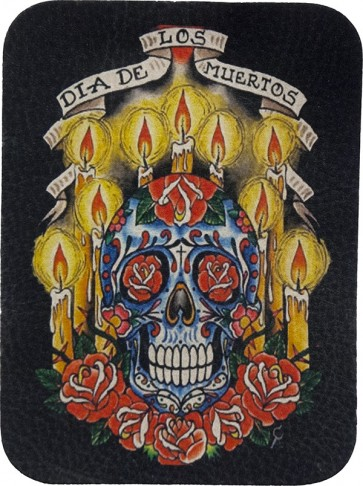 Day of The Dead Sugar Skull & Candles Genuine Leather Patch