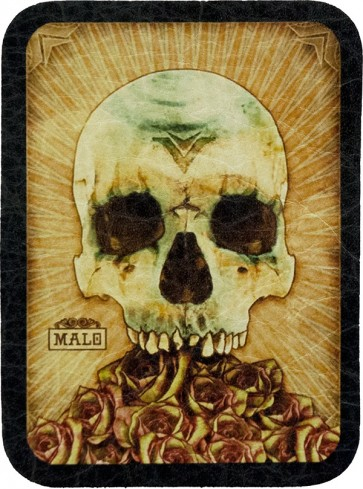 Tan Day Of The Dead Malo Half Skull & Roses Genuine Leather Patch