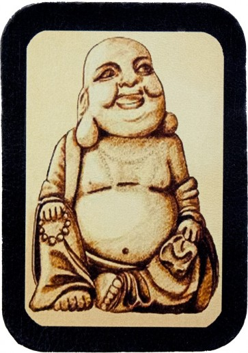 Happy Laughing Buddha Genuine Leather Patch
