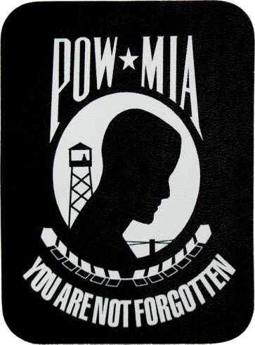 Black And White POW MIA You Are Never Forgotten 100% Genuine Leather Patch