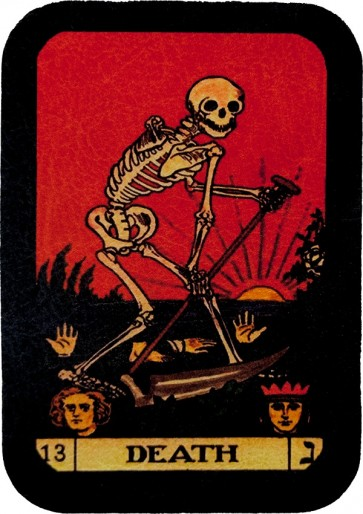 Red Death Tarot Card Skeleton & Sickle Genuine Leather Patch