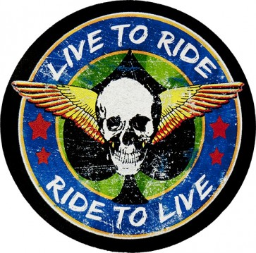 Live To Ride Ride To Live Winged Skull Genuine Leather Patch