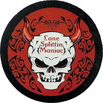 Lane Splittin Maniac Horned Skull With Tribal Design Genuine red Leather Patch