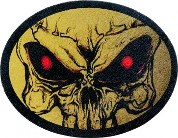 Extreme Close-Up Red Eyed Evil Half Skull Genuine Leather Oval Patch