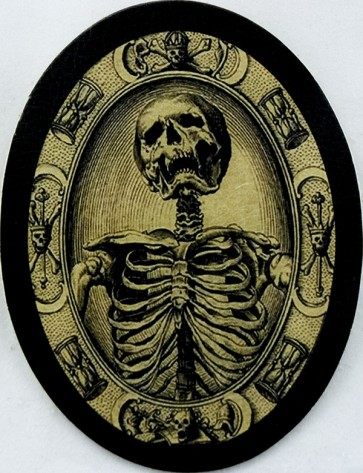 Oval Shaped Old Skeleton Framed Portrait Genuine Leather Patch