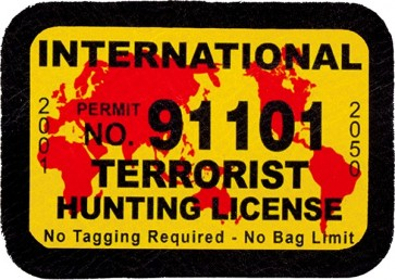 International Terrorist Hunting License 100% Genuine Leather Patch