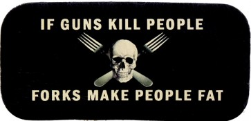 If Guns Kill People Forks make People Fat & Skull Genuine Leather Patch