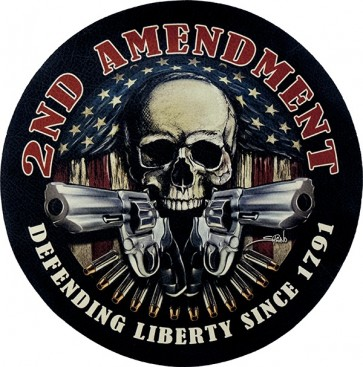 2nd Amendment Defending Liberty Skull, Guns & Bullets Genuine Leather Flag Patch