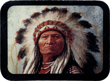 Native American Indian Chief Face Genuine Leather Patch
