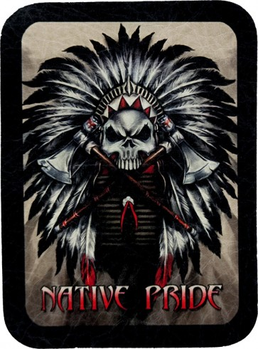 Native American Pride Indian Chief Skull Genuine Leather Patch