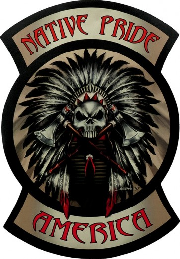Native Pride America Indian Chief Tomahawk Genuine Leather Patch