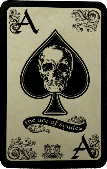 The Ace of Spades Card And Skull Genuine Leather Patch