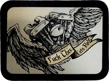 Flying Fuck This Lets Ride Winged V-Twin Engine Leather Patch