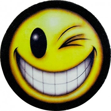 Winking Smiley Face Genuine Leather Patch