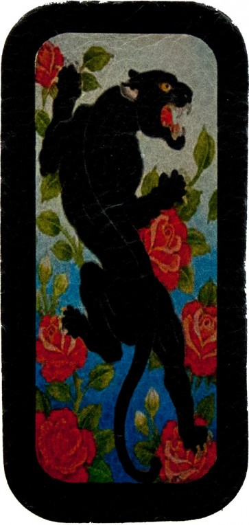 Black Panther & Red Roses With Blue Background Genuine Leather Patch