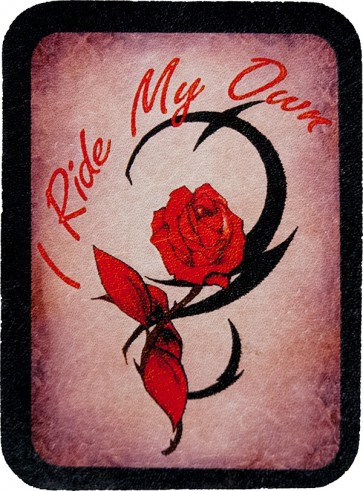 Pink I Ride My Own Red Rose Genuine Leather Patch
