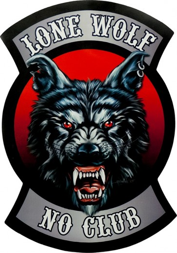 Ferocious Lone Wolf No Club With Sharp Teeth & Ear Rings Genuine Leather Patch