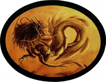 Fiery Savagely Fierce Golden Dragon Genuine Leather Patch