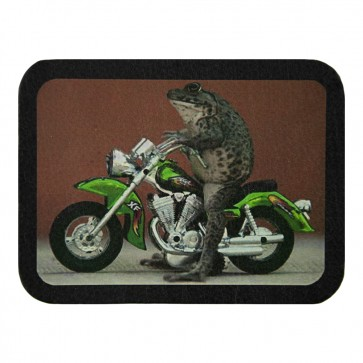 Riding Frog Biker On A Green Motorcycle Leather Patch