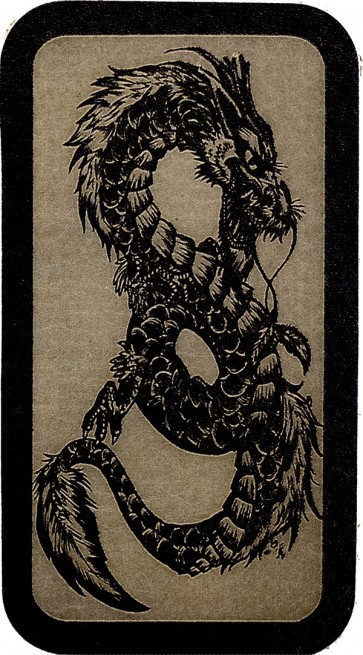 Black & Grey Vicious Dragon Sketch Genuine Leather Patch