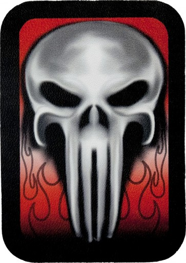 Ghostly Grey Skull On Red Background Genuine Leather Patch