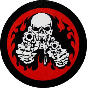 White Shooting Gun Skull Red Background Genuine Leather Sew On Patch