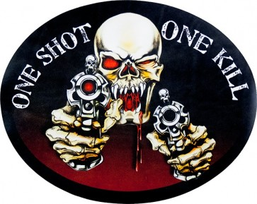 One Shot One Kill Vampire Skull Genuine Leather Sew On Patch