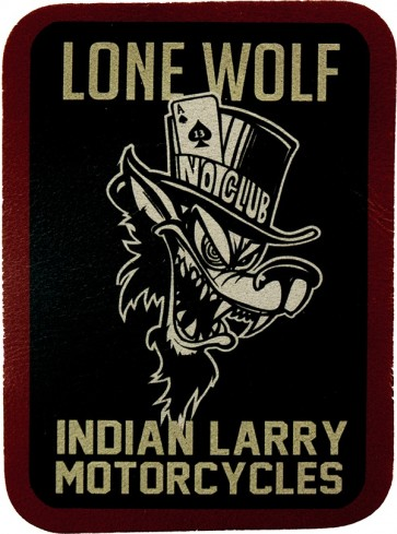 Black And Red Lone Wolf No Club Indian Larry Genuine Leather Patch