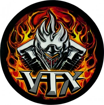 VTX Flaming V-Twin Genuine Leather Round Sew On Patch